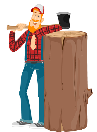 beside: Illustration of a Bearded Caucasian Lumberjack in a Cap and Plaid Shirt Standing Beside a Giant Log