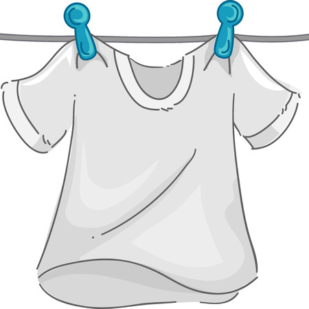 white shirt: Illustration of a White T-shirt in a Clothesline Fluttering in the Wind as it Dries