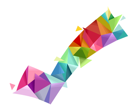 brightly: Abstract Illustration Featuring a Large Check Mark Made of Brightly Colored Geometric Shapes Stock Photo