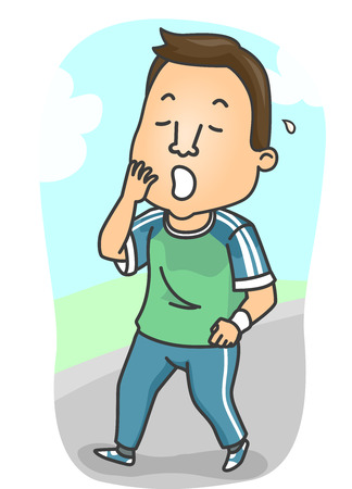 tiring: Fitness Illustration of a Sleepy Man in Training Clothes Yawning After a Tiring Work Out