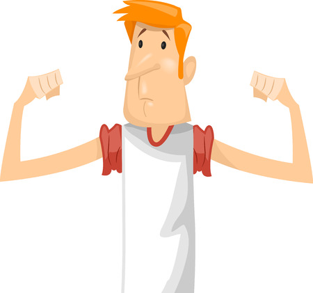 skinny: Fitness Illustration Featuring a Sad Skinny Man in a White  Shirt Disappointed Over His Lack of Muscle Bulges