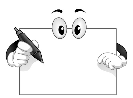 Mascot Illustration of a Blank White Board with Googly Eyes Holding a Pen 版權商用圖片