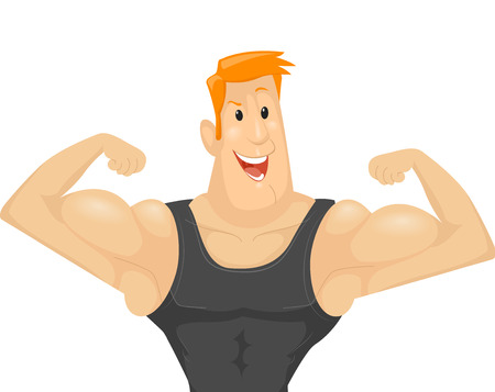 out of body: Fitness Illustration of a Muscular Man in a Black Tank Top Flexing His Biceps to Show His Muscles Stock Photo