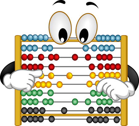 googly: Illustration of a Curious Abacus Mascot with Googly Eyes Rearranging its Beads Stock Photo
