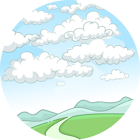 countryside: Whimsical Illustration of a Scenic Mountain Framed by Blue Skies Obstructed by Fluffy White Clouds Stock Photo