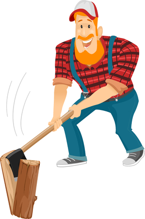 Illustration of a Bearded Caucasian Lumberjack in a Cap and Plaid Shirt Happily Chopping Wood