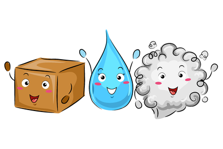 phases: Colorful Illustration of a Box, a Water Droplet, and a Cloud of Gas Demonstrating the Phases of Matters Stock Photo
