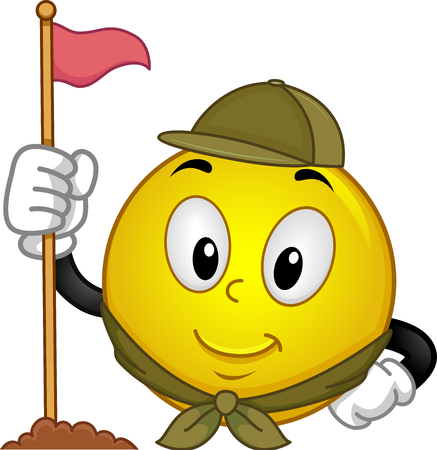 scouting: Mascot Illustration of a Happy Smiley in Scouting Uniform Erecting a Flag Pole Stock Photo