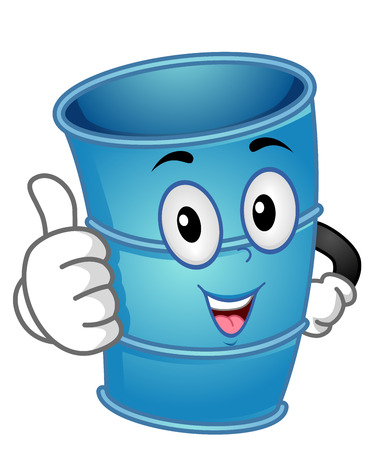 Mascot Illustration of an Empty Blue Container Drum Giving a Thumbs Up