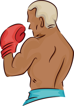 visible: Sports Illustration of a Man in Boxing Gloves with Only His Back Visible