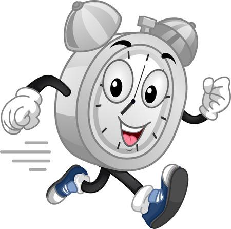 Mascot Illustration of an Energetic Analog Alarm Clock Running at Full Speed