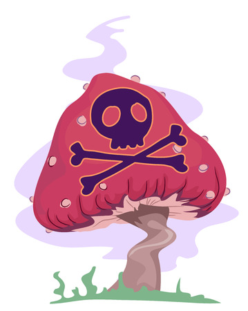 Trippy Illustration of a Poisonous Mushroom with the Skulls and Crossbones Painted on it