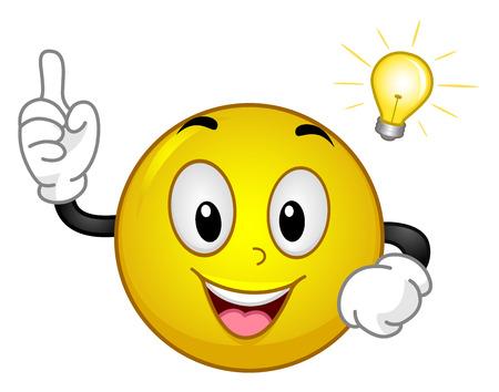Mascot Illustration eines Excited Yellow Smiley Nachdem ein Aha-Moment hält seine Zeigefinger Während eine Glühbirne schwebt über seinem Kopf