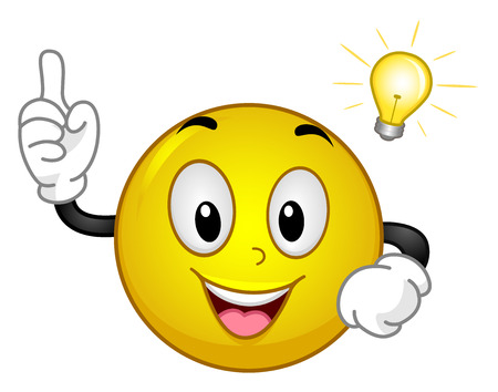 Mascot Illustration of an Excited Yellow Smiley Having an Aha Moment Holding Out His Index Finger While a Light Bulb Hovers Above its Head