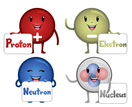bearing: Colorful Illustration Featuring Happy Atomic Particle Mascots Carrying Boards Bearing Their Names Stock Photo