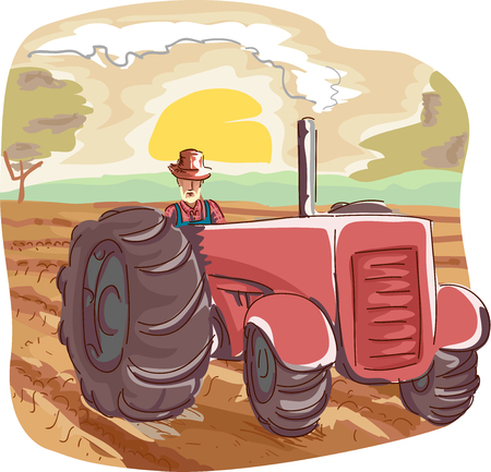 Illustration of a Farmer in Overalls and a Straw Hat Using a Large Tractor to Plow a Field