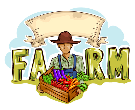 fresh produce: Typography Illustration of a Farmer Holding a Crate of Fresh Produce Placed at the Center of the Word Farm Stock Photo