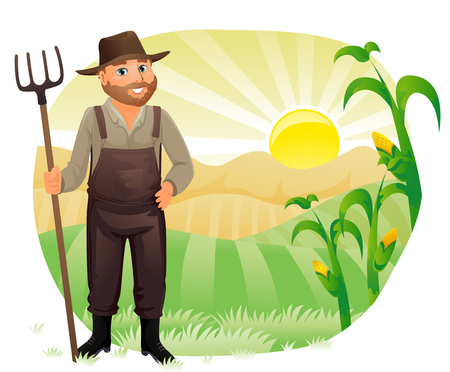 Illustration of a Farmer in Overalls and a Straw Holding on to a Rake Looking with Satisfaction at His Crops 스톡 콘텐츠 - 123154818