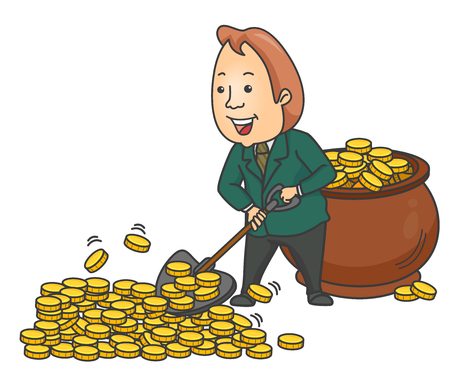 Illustration of a Businessman Happily Shoveling Gold Coins and Collecting Them in a Giant Pot 스톡 콘텐츠 - 123154819