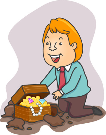 loot: Illustration of an Excited Businessman Stumbling Upon a Treasure Chest Filled with Gold Coins and Jewels Stock Photo