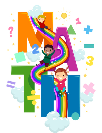 Stickman Illustration of Preschool Kids Going Down a Rainbow Slide Connected to Giant Letters That Spell the Word Math 스톡 콘텐츠 - 123154820