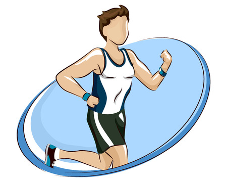Logo Design Illustration of a Man in Training Clothes and Wrist Bands Going for a Run
