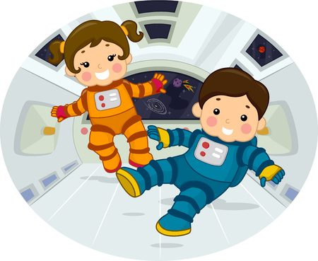 zero gravity: Illustration of Chubby Preschool Kids in Space Suits Floating in a Room with Zero Gravity Stock Photo