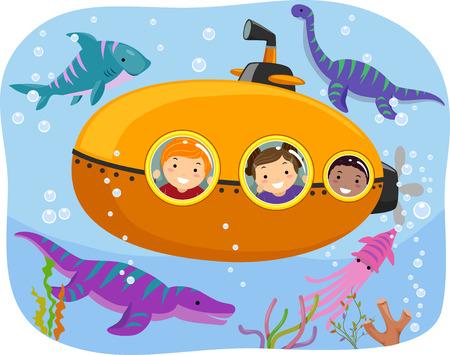 submarino: Ilustración stickman de niños viendo la fauna marina desde un submarino minúsculo Foto de archivo