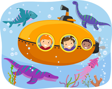 Stickman Illustration of Kids Watching Marine Animals from a Tiny Submarine