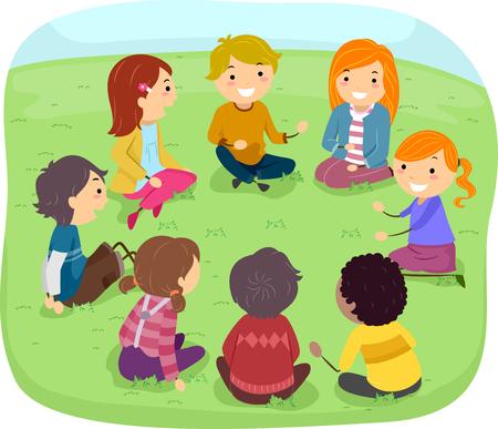 to sit: Ilustración stickman de un grupo de niños en el parque que se sienta en una disposición circular mientras se discute un tema