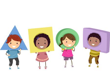 preescolar: Ilustración stickman de preescolar niños que llevan Formas básicas como tocados