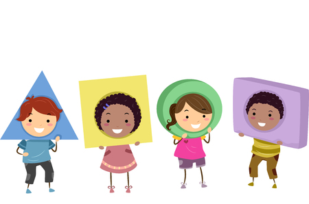Stickman Illustration of Preschool Kids Wearing Basic Shapes as Headdresses Imagens