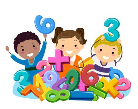 Ilustração de Stickman de crianças prées-escolar brincando em um poço cheio de números e símbolos matemáticos