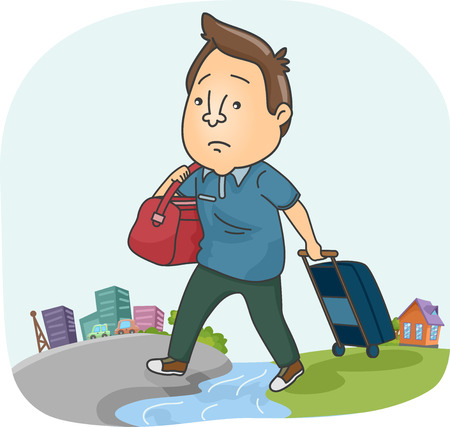 dragging: Illustration of a Sad Man Dragging a Suitcase While Moving to a New City