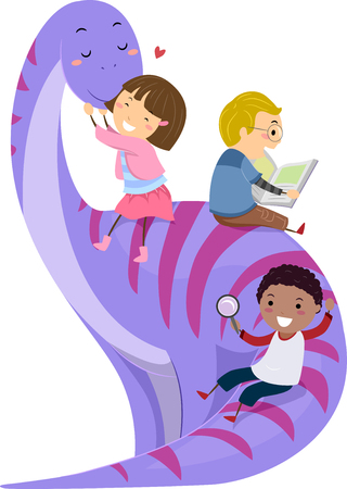 small group of animal: Stickman Illustration of Preschool Kids Playing with a Giant Purple Dinosaur