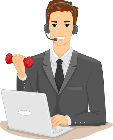Illustration of a Man in a Suit and Headset Lifting a Dumbbell While Working Stock Photo