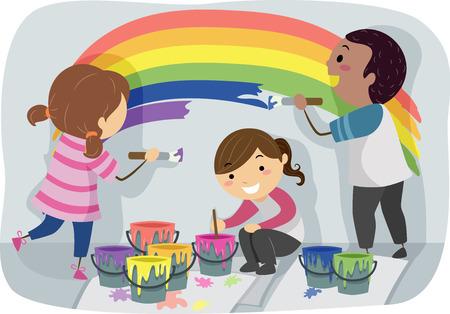 Stickman Illustration einer verschiedenen Gruppe von Vorschulkinder Malerei ein bunter Regenbogen an der Wand Standard-Bild - 67019721