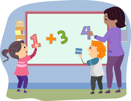 sum: Stickman Illustration of Preschool Kids Solving the Mathematical Equation on the Board