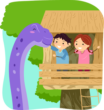 small group of animal: Stickman Illustration of Kids Petting a Giant Purple Dinosaur from a Tree House Stock Photo