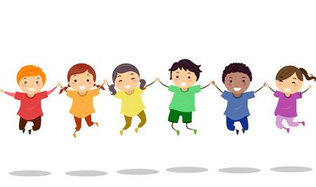 점프 샷을하는 다채로운 셔츠를 입고 유치원 어린이의 다양한 그룹의 Stickman의 그림