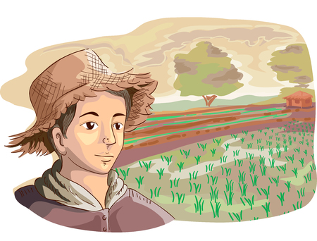 homestead: Illustration of a Young Farmer in a Straw Hat Looking at Rows of Recently Planted Rice