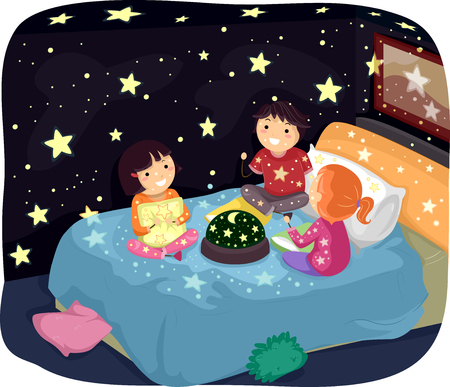 sleepover: Whimsical Illustration of Stickman Kids in Pajamas Admiring a Room Decorated with Glow in the Dark Stickers