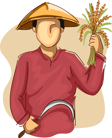 harvesting rice: Illustration of an Asian Farmer in a Conical Hat Harvesting Rice with a Sickle