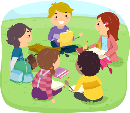 conducting: Stickman Illustration of Kids Conducting a Group Study in an Outdoor Park