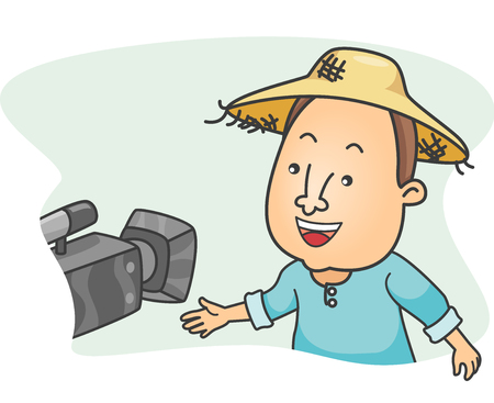 Illustration of a Farmer Wearing a Straw Hat Being Videotaped While Being Interviewed Stock Photo