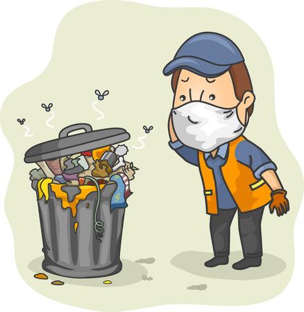 Illustratie van een man verkleed als een Trash Collector Zijn Hoofd krast terwijl het controleren van een Stapel van Stinky Garbage