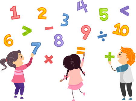 multiplication: Stickman Illustration of Preschool Kids Playing with Numbers and Mathematical Symbols