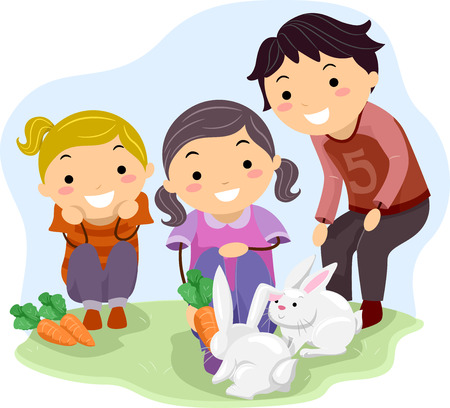 small group of animal: Stickman Illustration of Kids in a Farm Happily Feeding a Pair of Rabbits with Carrots