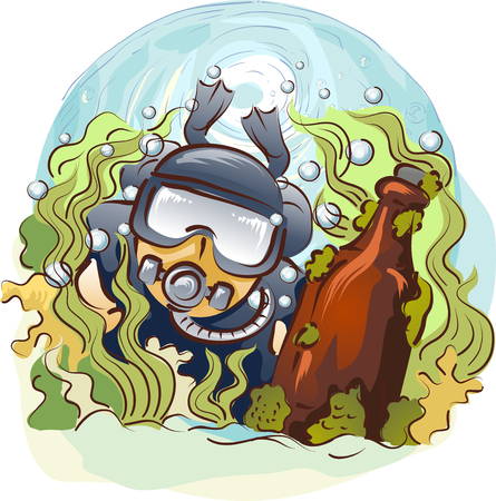 deep sea diver: Illustration of a Man in Scuba Diving Gear Searching for Antiques in Deep Waters Stock Photo