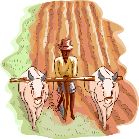 Illustration of a Man in a Straw Hat Plowing His Field with the Help of a Pair of Water Buffalos
